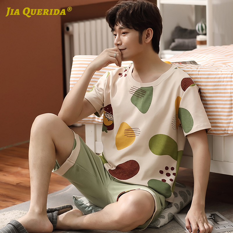 Pj Set Men Crew Neck Casual Style Men Pajamas Set Homesuit Homeclothes Fashion Style Short Sleeve Short Pants Sleepwear Pj S