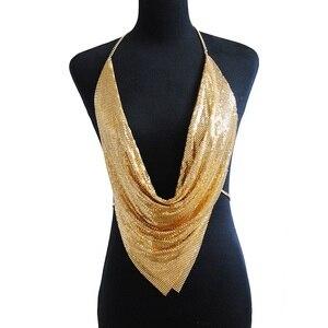 Image 4 - شبكة معدنية الجسم سلسلة ماكسي مجوهرات لامعة الترتر البرازيلي مجوهرات للجسم النساء الجسم سلسلة بيان كبير مجوهرات