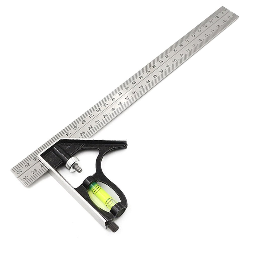 300Mm Adjustable Combination Square Angle Ruler 45 / 90 Degree With Bubble Level Multifunctional Gauge Measuring Tools