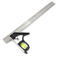 300Mm regulowana kombinacja kwadratowa linijka kątowa 45/90 stopni z poziomica pęcherzykowa wielofunkcyjny miernik narzędzia pomiarowe w Kątomierze od Narzędzia na