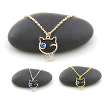 Rose Gold Color Tiny Cute Cat Pendant Necklaces For Women Thin Chain Blue Cyrstal Eye Animal Cat Pet Lover Couple Necklace Girls Gift Wholesale(China)