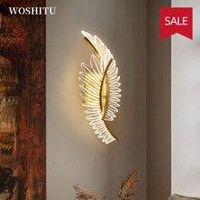 Iluminação do quarto led luzes de parede para casa sala estar moderna decoração da parede interior asas ouro design sombra arandela luminária