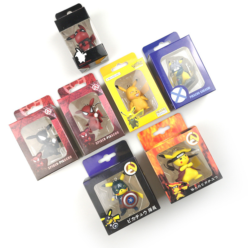 Marvel Avengers Pikachu Cosplay Thor Thanos Hulk Iron Man Captain America Deadpool Model Keychain Toys PVC Action Doll