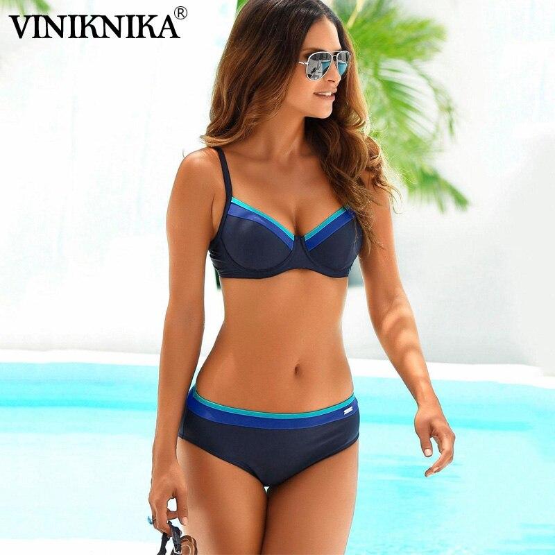 2020 Sexy Solid Bikini Two Piece New High Leg Push Up Swimming Suits For Women Split Sweamwear Underwire Women Bandage Swimsuit