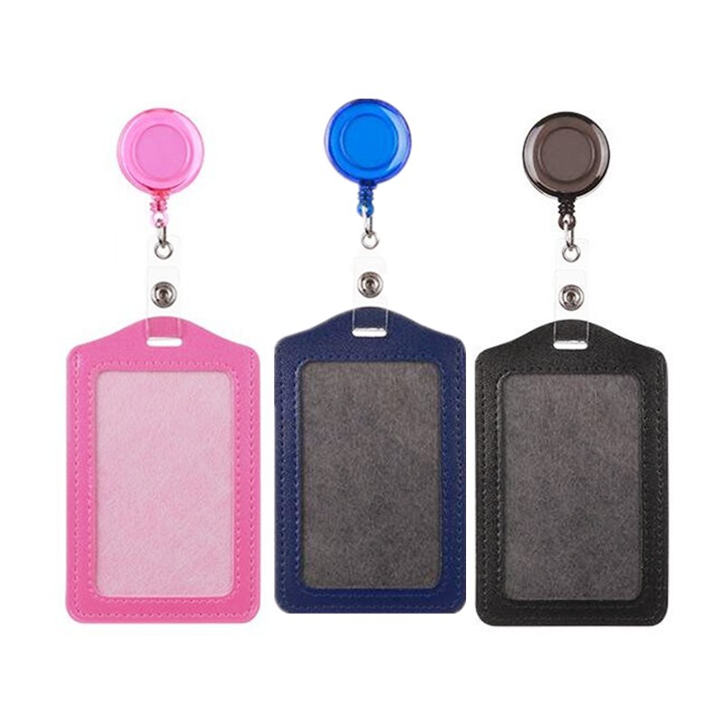 Retractable Card Holders Plastic Name Badge Identity Badge With Badge Reel