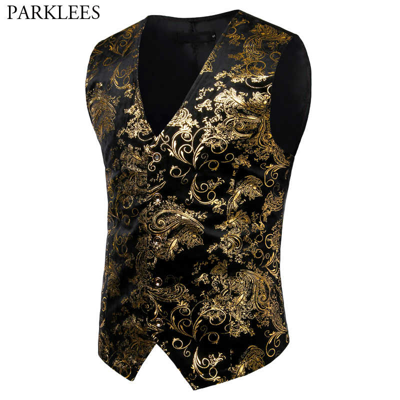 Mens Gold Metallic Paisley Printed Steampunk Vest Single Breasted V Neck Wedding Waistcoat Men Tuxedo Aristocrat Vests Gilet 2XL