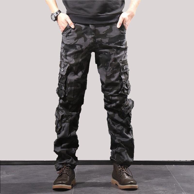 Men Long Pants Trousers Camouflage Combat Cargo Hiking Military Baggy Water Repellent Ripstop Multi-Pocket Overalls Plus Size