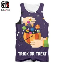 OGKB Men's New Creative Street Clothing 3D Printed Funny Trick Or Treat Candy Tank Top Halloween Big Size Man 6XL(China)