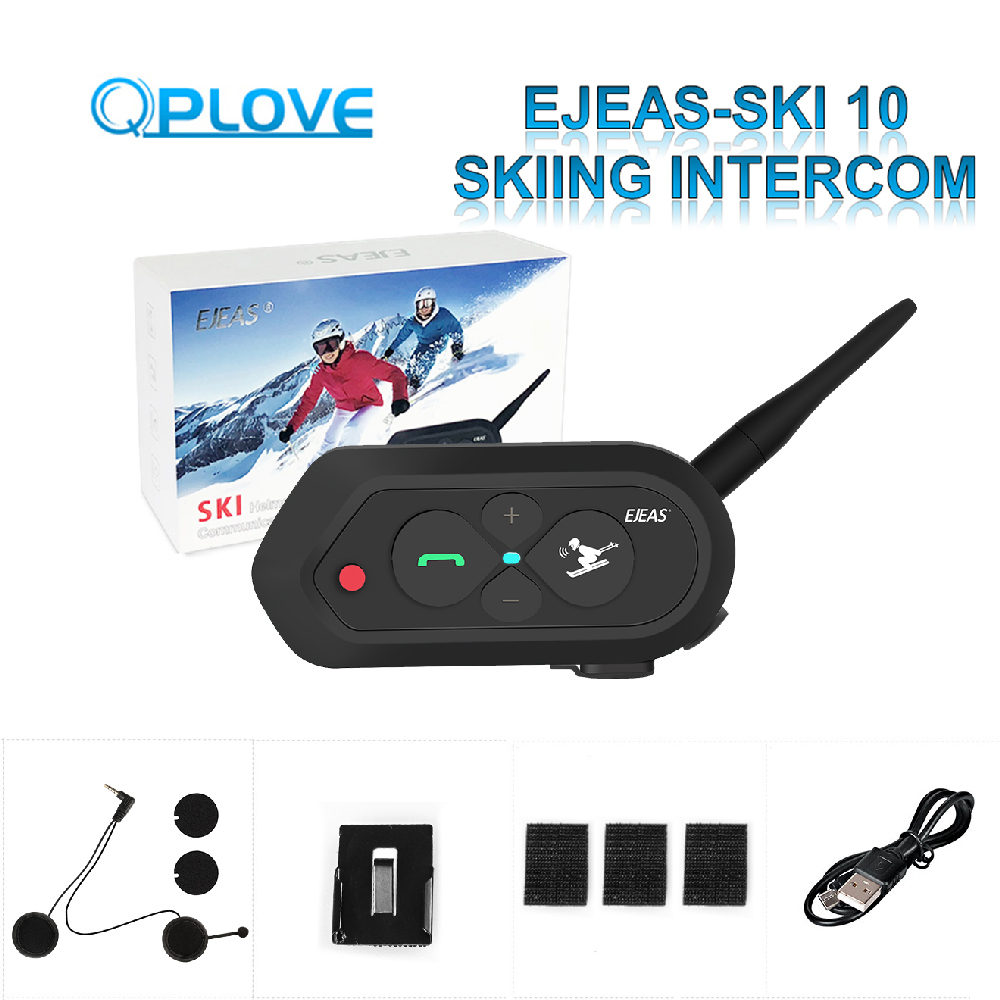 QPLOVE SKI10 Travel Skiing Intercom 1200m Helmet Bluetooth Headset Big Button 2 Skiers Connection Convenient And Upgradeable