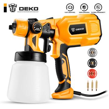 DEKO Spray Gun 110V 220V wysokie zasilanie solarne do użytku domowego elektryczny pistolet do malowania 3 dysze łatwe rozpylanie i czyszczenie idealne dla początkujących tanie i dobre opinie Electric 1 8mm Ciśnienie DKSG55K1 30000 rpm HVLP Pistolet farby Domu DIY 800ml