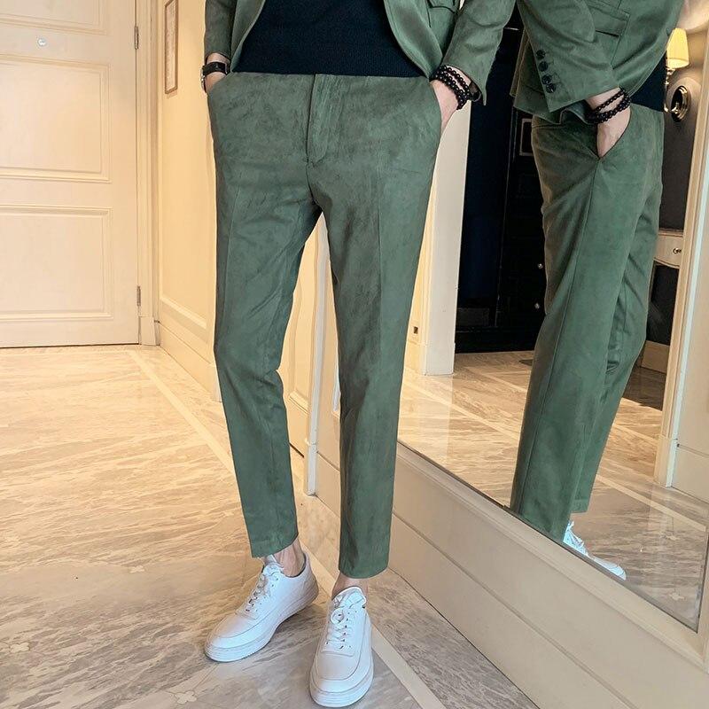 Nuevos Pantalones De Color Solido Para Hombre De Tela De Gamuza De Lujo Pantalones Casuales De Negocios Para Hombre Pantalones Ajustados De Moda De Otono Para Hombre Pantalones Informales Aliexpress