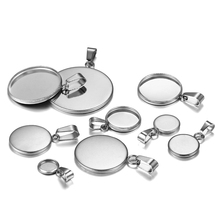 10pcs/lot 6-25mm Stainless Steel Blank Trays Pendant Settings With Clasps Cabochon Base Bezel For DIY Jewelry Making Supplies 10pcs fit 25mm stainless steel cabochon base diy blank cameo pendant bezel settings diy jewelry necklace trays