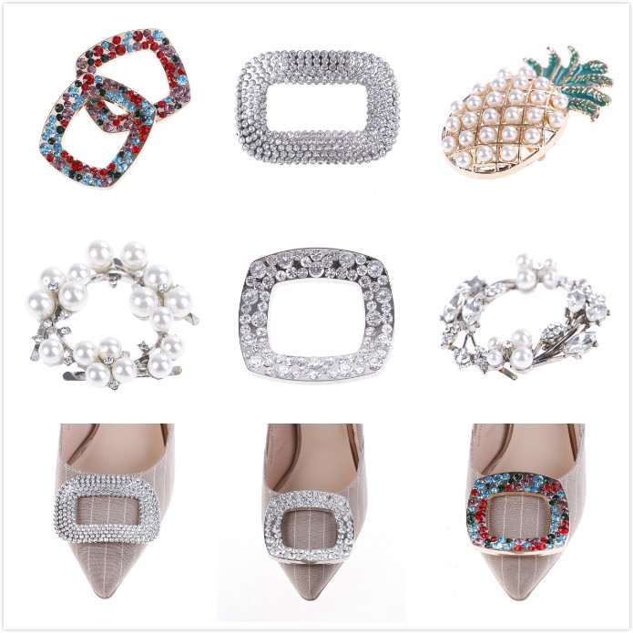 6Styles Crystal Fashion Bridal Shoes Rhinestone Clip Buckle Shoe Clip Decoration Faux Pearl Shoe Clips Decorative Accessories