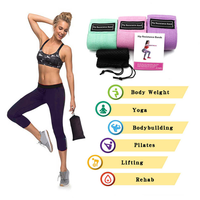 3 pcs fabric resistance bands booty band set gym equipment workout elastic rubber band for yoga sports fitness hip training 4