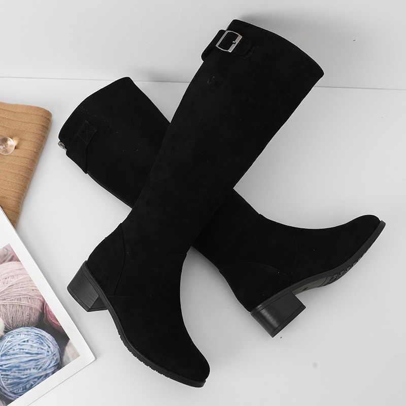 2019 botas altas hasta el muslo de las mujeres zapatos casuales Otoño Invierno botas con hebilla tacones cuadrados botas largas negras femeninas