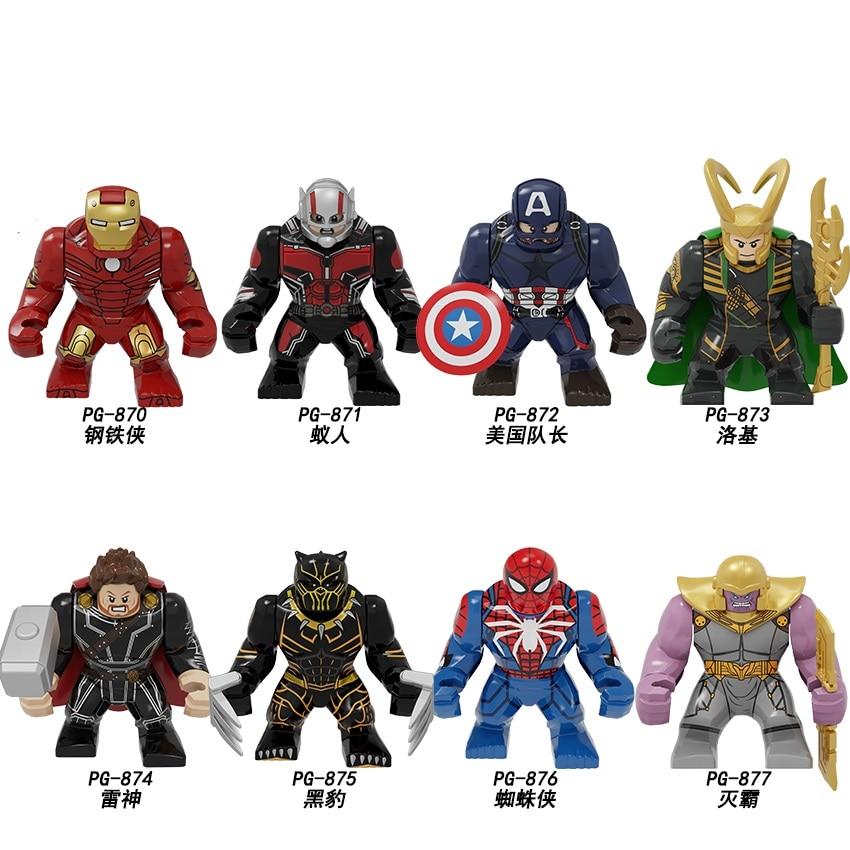 Building Blocks Big Size Iron Man Ant-Man Captain America Loki Thor Spider-Man Thanos Figures For Children Toys Learning PG8258
