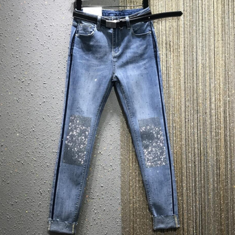 2020 Spring New Fashion High Waist Straight Jeans Women Elastic Hot Rhinestone Denim Pencil Pants