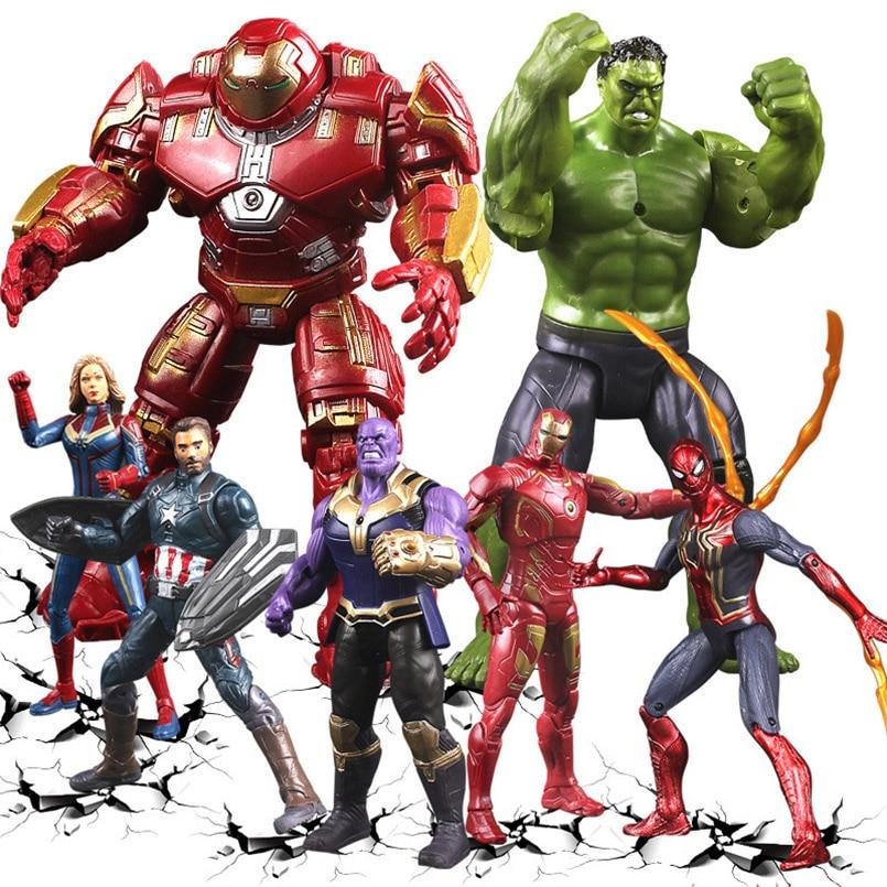 Marvel Thor Iron Man Action Figure Toys Thanos Captain America Thor Spiderman  Avengers Endgame Model Toys For Children