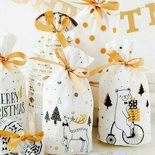 50 шт. сумки для рождественской вечеринки мешок для конфет Рождество вечерние подарки украшения новые держатели для подарков