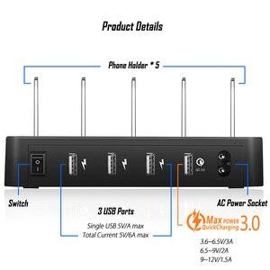 Image 3 - 40W wiele szybka ładowarka USB stacja szybkie ładowanie 3.0 QC3.0 4 porty uniwersalny biurko USB rozdzielacz ładowarki + uchwyt do montażu ue US UK wtyczka