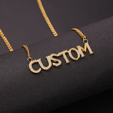 Pendant-Chain Custom Personalized Gold Silver Name Bling Jewelry Collares Baguette-Letters