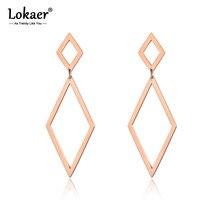 Lokaer-Pendientes de acero inoxidable para Mujer, joyería de Color dorado geométrico, rosa, rombo hueco, 2 tamaños diferentes, Pendientes para Mujer de Moda E18099
