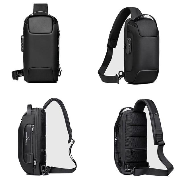 Men's Waterproof USB Oxford Crossbody Bag Anti-theft Shoulder Sling Bag Multifunction Short Travel Messenger Chest Pack For Male 6
