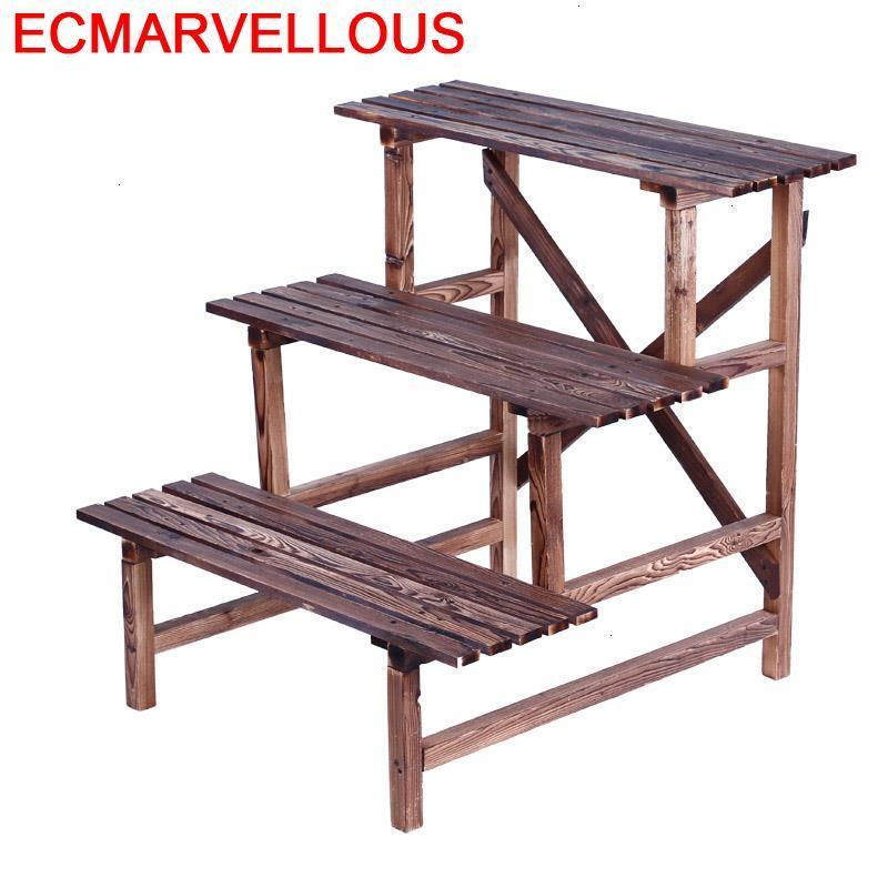 Macetas  Wooden Furniture Mueble Para Plantas Wood Terraza Etagere Pour Plante Outdoor Rack Balcony Flower Shelf Plant Stand