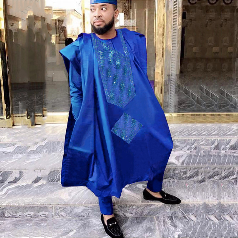 H&D 2019 Men African Clothes Tops Pants 3PCS Agbada Suit Long Sleeve Formal Attire Embroidery Pattern With Stones Robe Africaine
