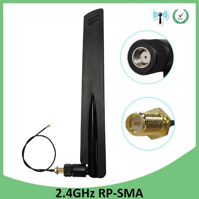 2шт 2,4 ГГц антенна Wi-Fi 8dBi антенна RP-SMA Male 2,4 ghz antena Wi-Fi маршрутизатор + 21 см PCI U. FL IPX к SMA мужской косичка кабель