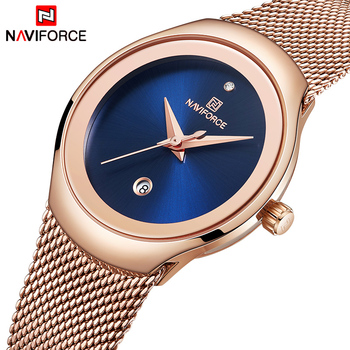 NAVIFORCE 5004 Women Watch Luxury Brand Fashion Casual Ladies Quartz Wristwatch Rose Gold Stainless Steel Mesh Dress Clock For Girl with box