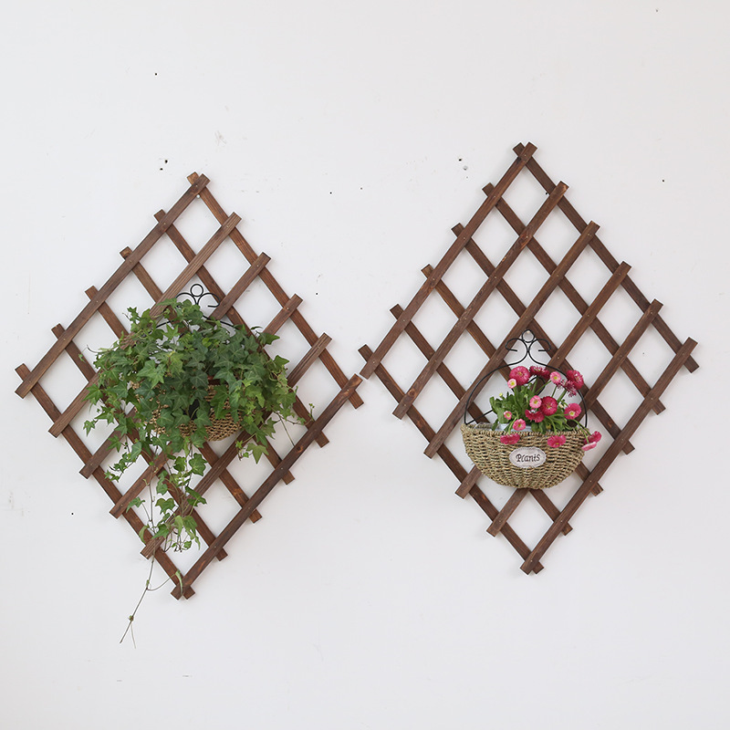 Wall Hanging Plant Racks Wood Railings Folding Flexibility Mesh Climbing Rattan Holder Wood Garden Decor Indoor Plant Stand