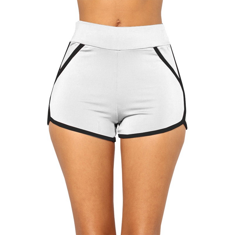 Casual Shorts Woman High Waist Patchwork Body Fitness Workout Summer Shorts Female Elastic Skinny Slim Beach Egde Short