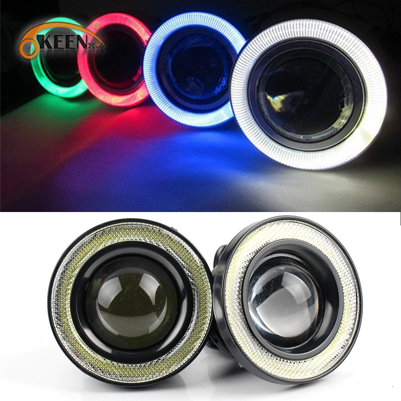 "2pcs 12V Universal COB LED DRL Driving Lights White Blue Pink Yellow Green Red Angel Eyes Fog Lamp 2.5"" 3.0"" 3.5"" 64mm 76mm 89mm"