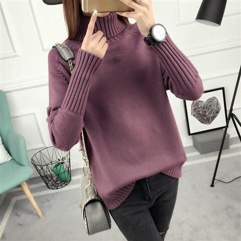 14 цветов,, осенне-зимний свитер, Женский вязаный свитер с высоким воротом, повседневный мягкий модный тонкий женский эластичный пуловер NS9097 - Цвет: hongdousha