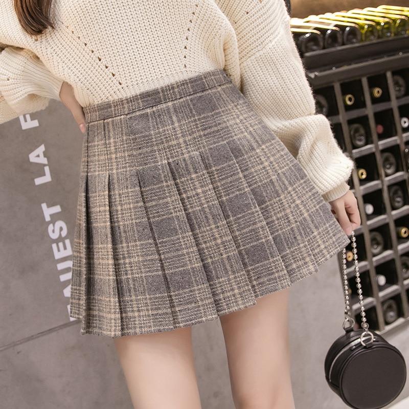 2019 Autumn & Winter New Style Korean-style Plaid Skirt Woolen Pleated Skirt Women's High-waisted A- Line Short Dress College St