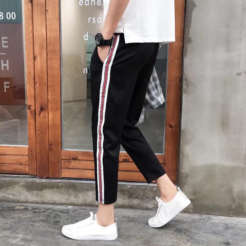 D02 18 Autumn New Men Casual Capri Pants Fashion Man Teenager Sports Webbing Pants Fashion Large Size Pants Fashion