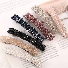 Hot Korean Elegant Hairpins Hairgrips Crystal Rhinestone 8cm Barrettes Hair Clips for Women Girls Accessorie