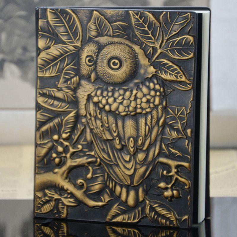 3d escultura coruja em relevo caderno diario 01