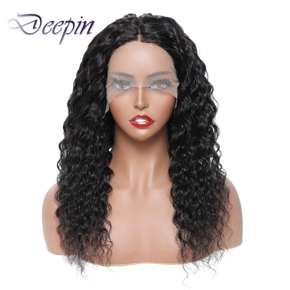 Глубокие волосы, парик на сетке T-Part, парик из человеческих волос с глубокой волной для женщин, натуральный цвет, бразильские волосы без повр...