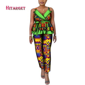 African Dashiki For Women Top And long Pants Set Print robe african femme bazin Traditional African Clothing Dashiki Set WY6705