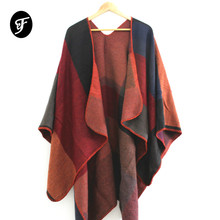 Women Luxury Winter Scarf Warmer Shawl Plaid Blanket Knit Wrap Pashmina Poncho Capes Shawl Scarves Color Patchwork Pattern 2019 stylish patchwork pattern pleated scarf for women
