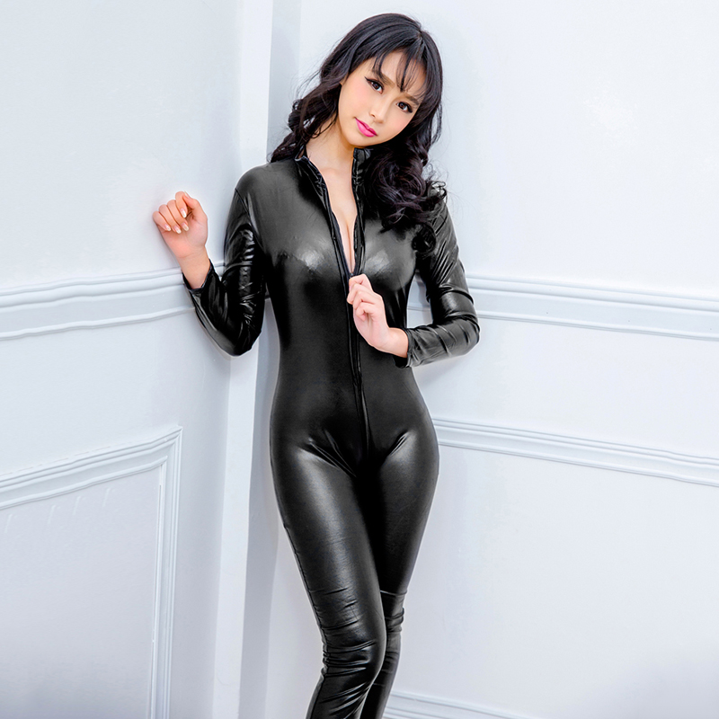Fashion Sexy Women Leather Bodysuit Long Sleeve Zipper Skinny Pants Bodycon Jumpsuit Lingerie Catsuit Playsuit Rompers