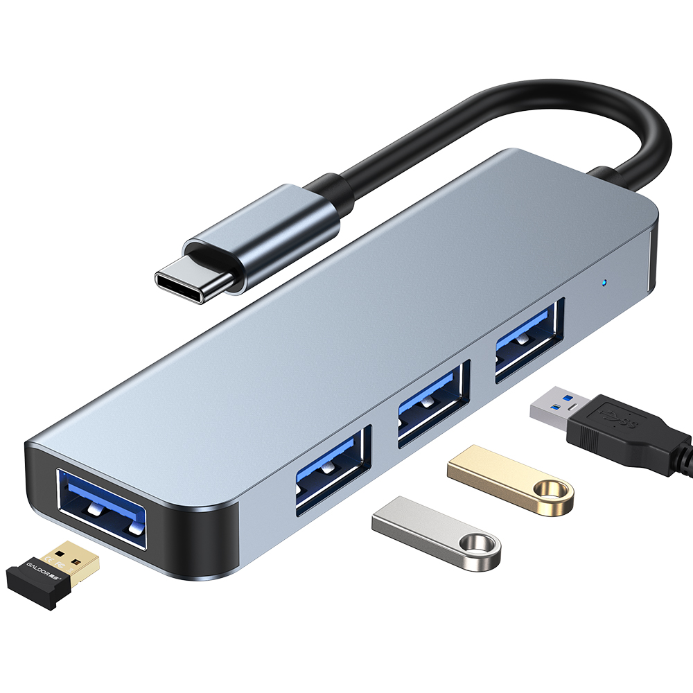 One Type C or USB 3.0 Adapter HUB Expand Into 4 USB Docking Station For MacBook Laptop Mobile Phone Ipad Multi-interface U Disk