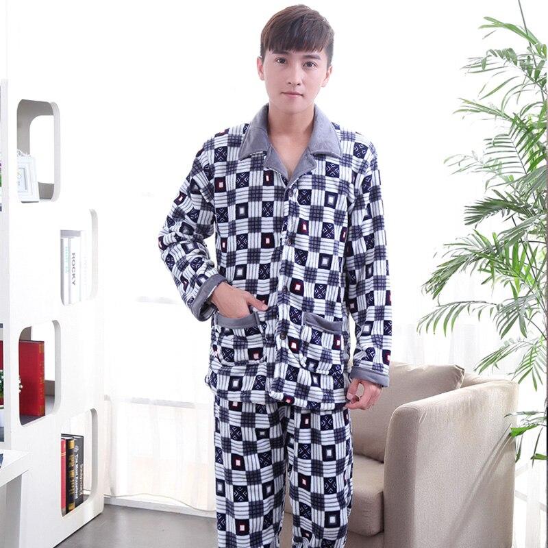 Men Sleepwear Thick Fleece Warm Plaid Pajama Set Winter New Plus Size 3XL Flannel Christmas Pajamas Man Casual Home Wear Pijamas