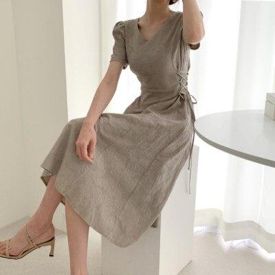 Retro  Elegant Short Sleeve Lace Up Female Dress V-neck Slim Waist Women Dress 2020 Summer Floral Pattern Vestidos Femme Vs108