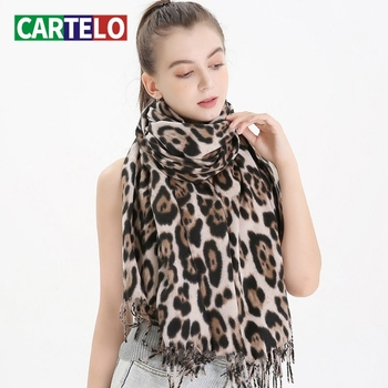 CARTELO New scarf autumn and winter ladies thick leopard scarf fringed woolen windproof shawl imitation cashmere scarf women chic leopard pattern fringed edge voile scarf for women