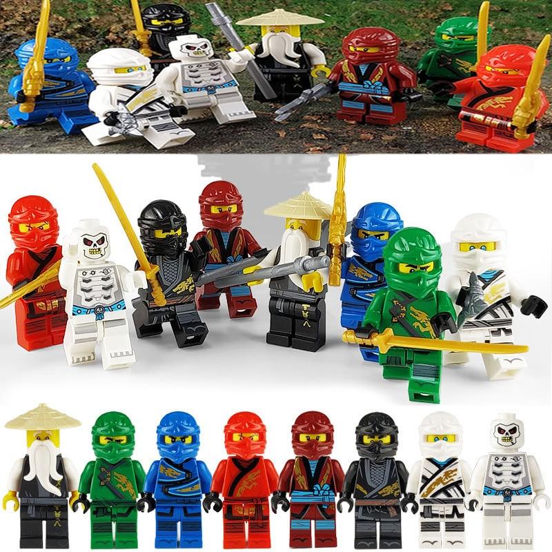 8pcs/lot NinjagoING Blocks Jay Nya Cole Lloyd Zane Pythor Building Block Toys Compatible With LegoINGlys Mini Figures Kids Gifts