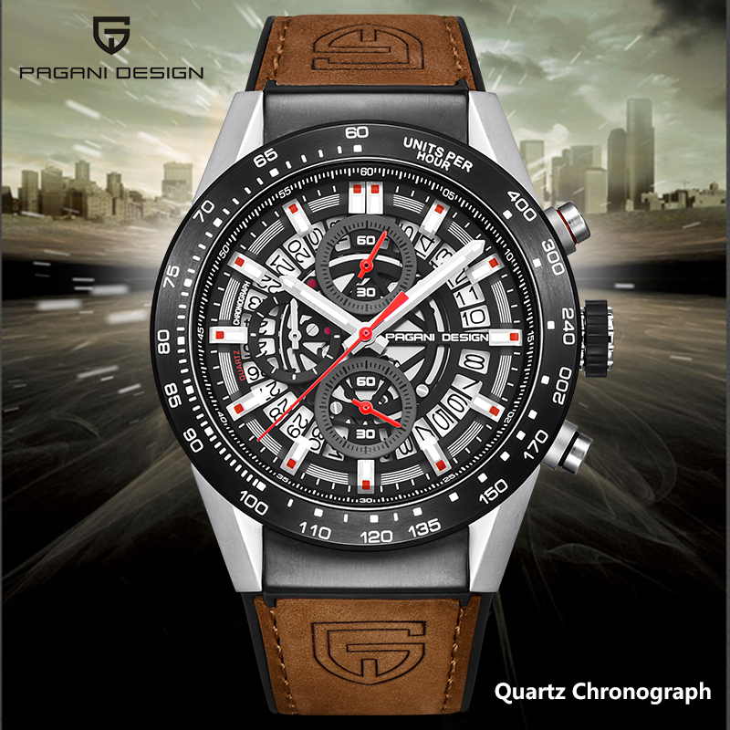 Quartz men's watches PAGANI DEISGN top brand sport wristwatch male military wateproof chronograph men fashion leather clock 2020