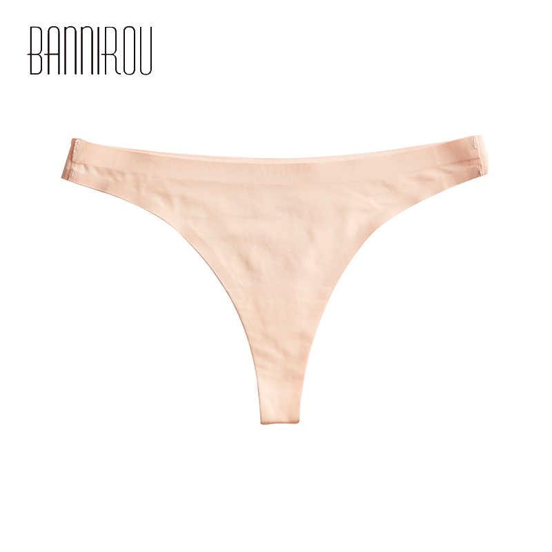1 Uds. Ropa interior de mujer sin costuras Ice panty de seda Sexy deportes femeninos t-back sólido suave Tanga para mujer nuevas bragas BANNIROU